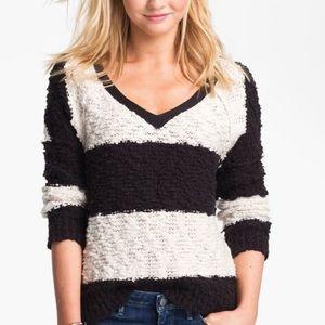 Free People Stripe Pullover Knit Crochet Black